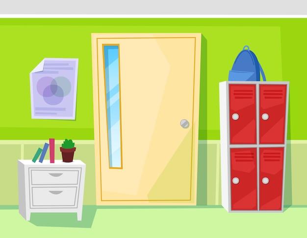 Schulklassenzimmer-innentür und schließfächer Premium Vektoren