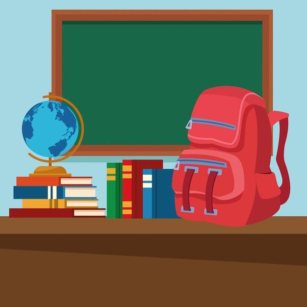Schulklassenzimmer mit schreibtisch und tafel Kostenlosen Vektoren