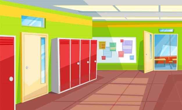 Schulkorridor-klassenzimmer-innenart-halle Premium Vektoren
