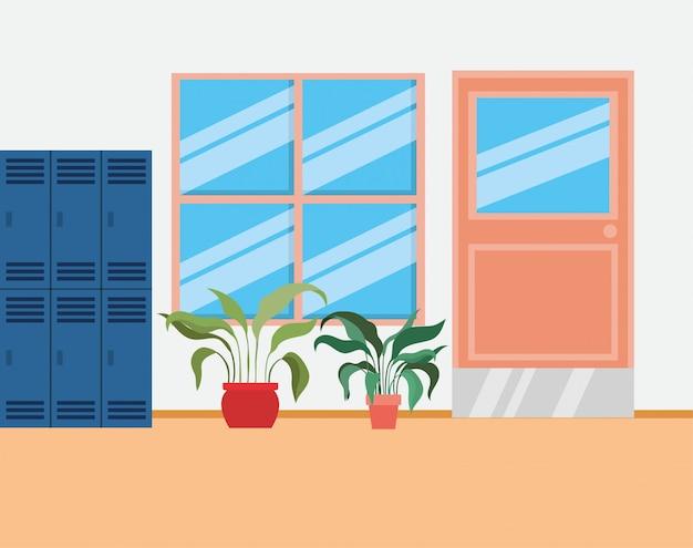 Schulkorridor mit schließfachszene Kostenlosen Vektoren
