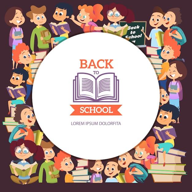 Schulleutecharaktere. verschiedener karikaturhintergrund mit jungen und mädchen in der schule Premium Vektoren