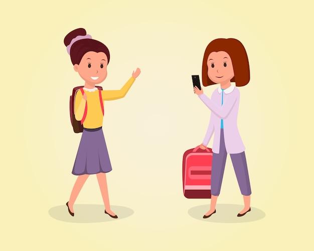Schulmädchen, das zur schulflachen illustration geht. klassenkameraden, freundinnen clipart Premium Vektoren