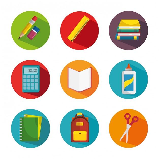 Schulmaterial bildung Kostenlosen Vektoren