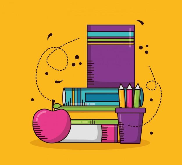 Schulmaterial, bücher, stifte, apfel Kostenlosen Vektoren