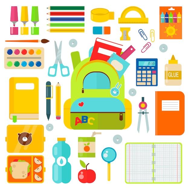 Schulmaterial festgelegt Premium Vektoren