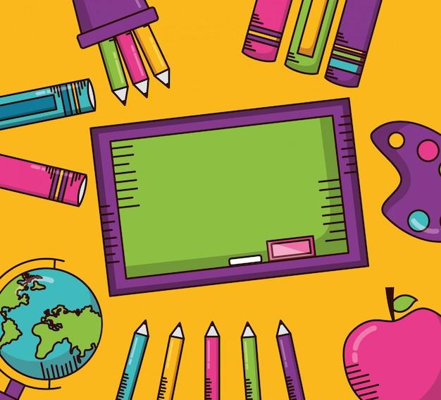 Schulmaterial und grüne tafel Kostenlosen Vektoren