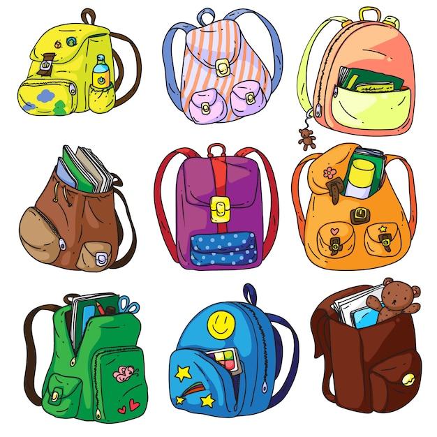 Kinder Und Schulranzen Stock Vektor Art und mehr Bilder von Aktentasche -  iStock