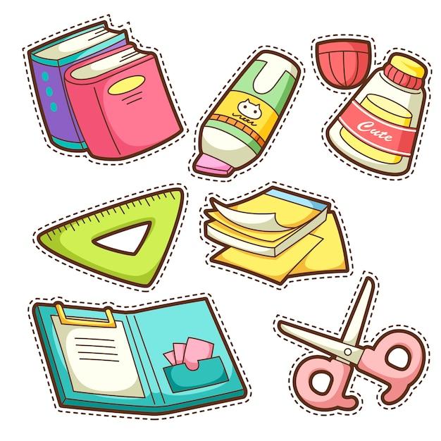 Schulset. satz von verschiedenen schulgegenständen, illustration. Premium Vektoren