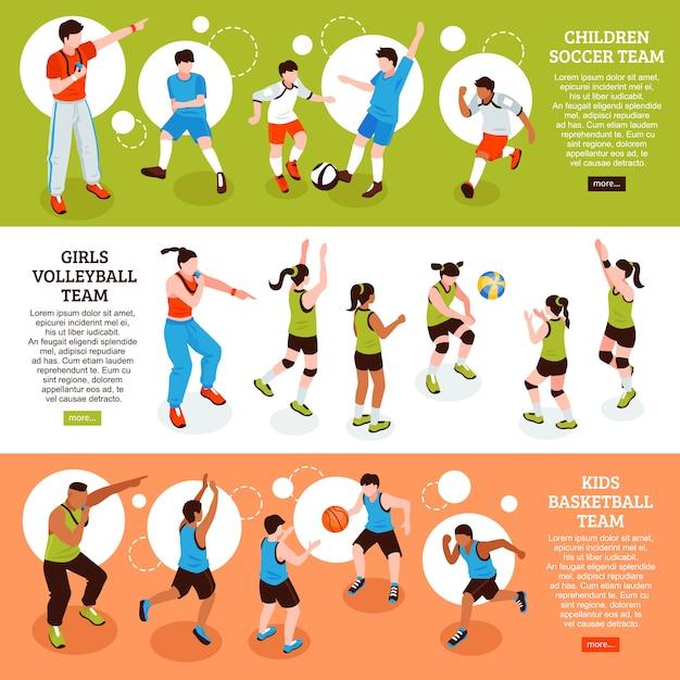 Schulsport banner set Kostenlosen Vektoren