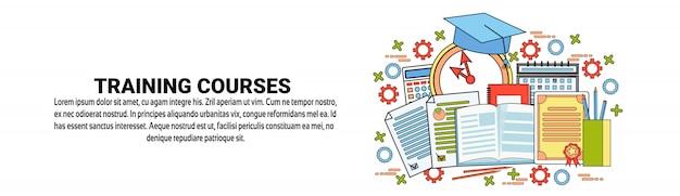 Schulungskurse konzept horizontale banner vorlage Premium Vektoren