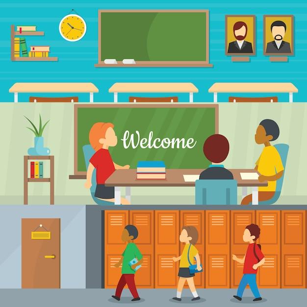 Schulunterricht im klassenzimmer Premium Vektoren