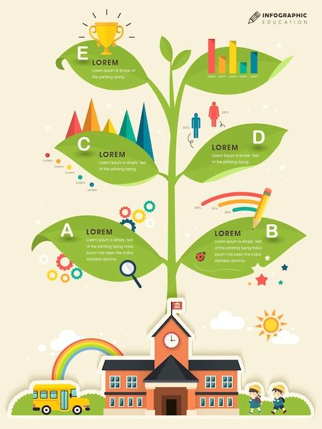 Schulwissen baum - bildung infografik vorlage design Premium Vektoren