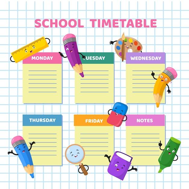 Schulzeitplan mit lustigen zeichentrickfiguren. stundenplan-vektorschablone der kinder wöchentlich Premium Vektoren
