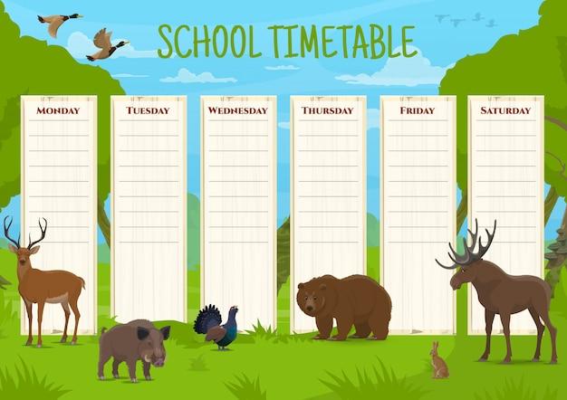 Schulzeitplan mit wildtieren, unterrichtsplan mit hirschen, wildschweinen und birkhuhn, bären und elchen, hasen und enten. täglicher unterrichtsplaner für kinder, pädagogische zeitplan-cartoon-vorlage Premium Vektoren