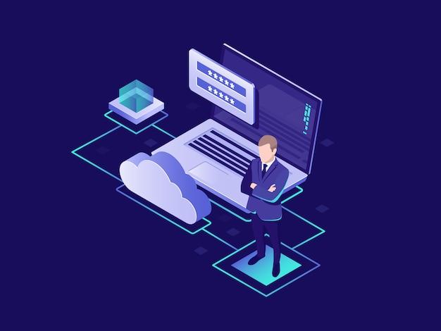 Schutz persönlicher daten, cloud-speicherung von informationen, benutzerautorisierung, cloud-speicher Kostenlosen Vektoren