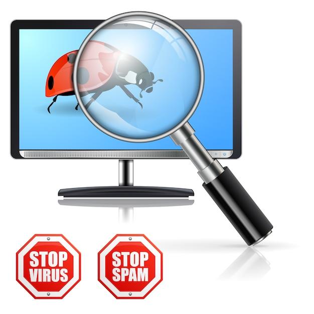 Schutz vor viren und spam Premium Vektoren