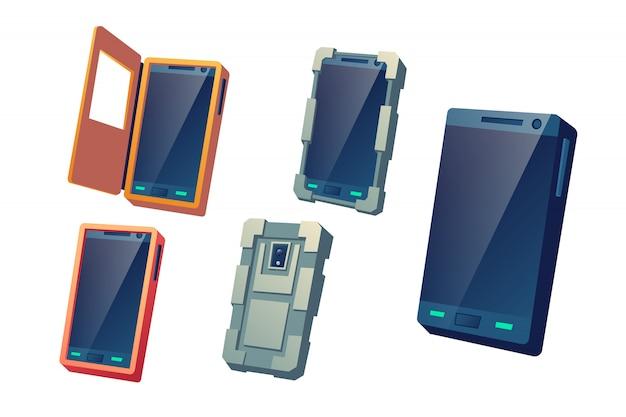 Schutzabdeckungen, wasserdichte und stoßfeste hüllen für moderne mobiltelefone Kostenlosen Vektoren