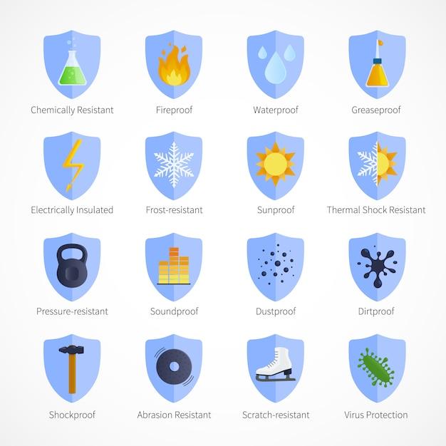 Schutzbeweis embleme mit wasserdichten schalldichten und feuerfesten schildern Kostenlosen Vektoren