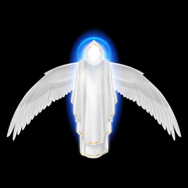 Schutzengel der götter im weißen kleid mit blauem glanz und flügeln unten auf schwarzem hintergrund. Premium Vektoren