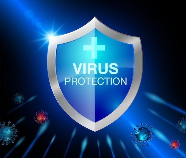 Schutzschild für coronavirus. realistische datei. Premium Vektoren