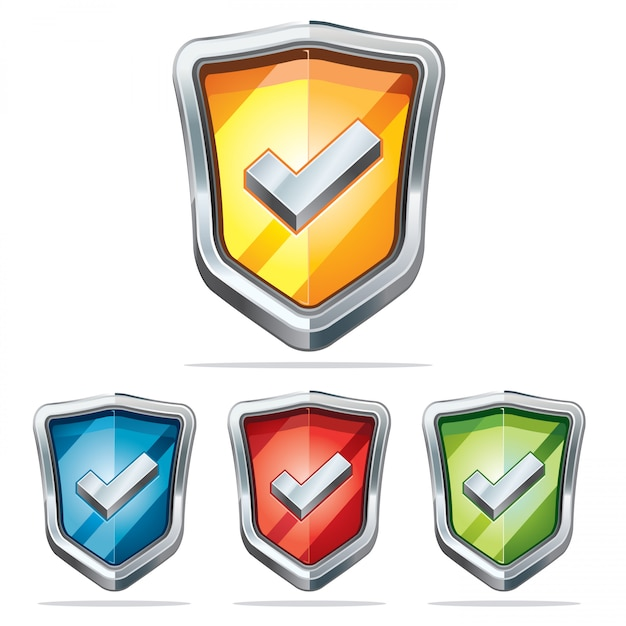 Schutzschild sicherheitssymbole. Premium Vektoren