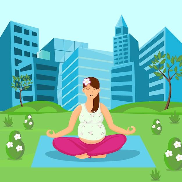 Schwangere frau, die auf natur-illustration meditiert Premium Vektoren