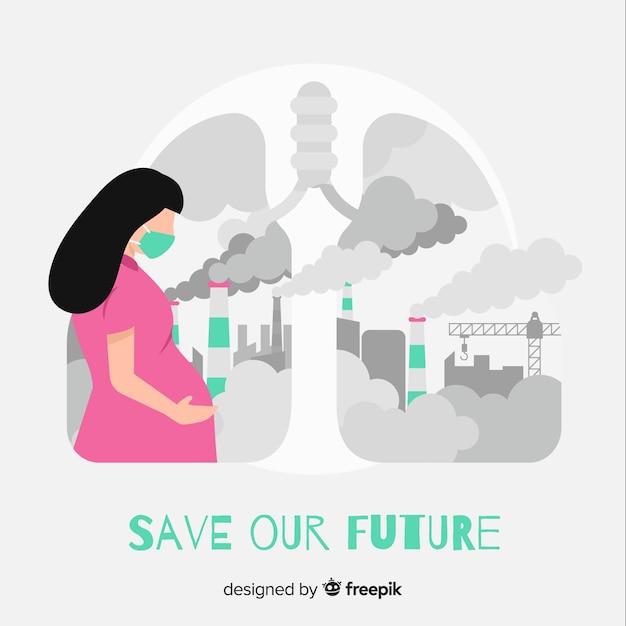 Schwangere frau, die voll in einer stadt der verschmutzung lebt Kostenlosen Vektoren