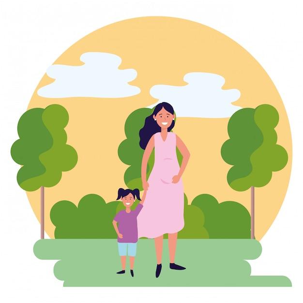 Schwangere frau mit kinderrundenikone Premium Vektoren