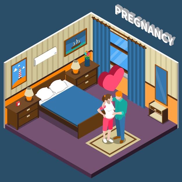 Schwangerschaft isometrische zusammensetzung Kostenlosen Vektoren