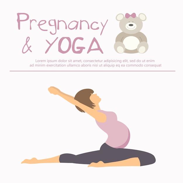 Schwangerschaft und Yoga-Konzept Kostenlose Vektoren