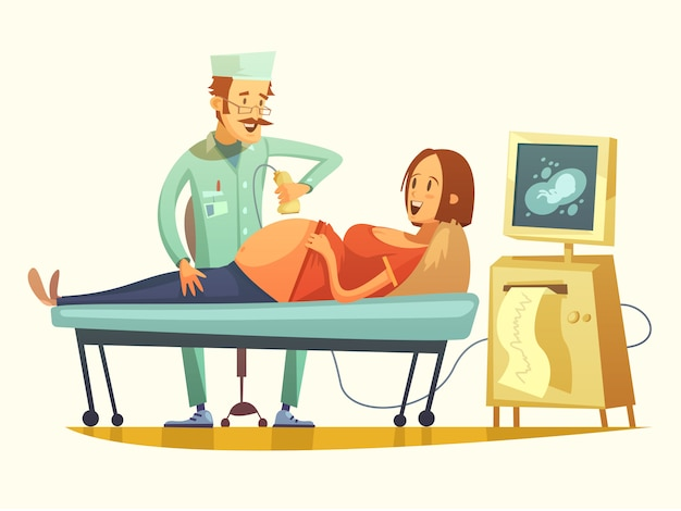Schwangerschafts-ultraschall-siebung-retro- karikatur-illustration Kostenlosen Vektoren