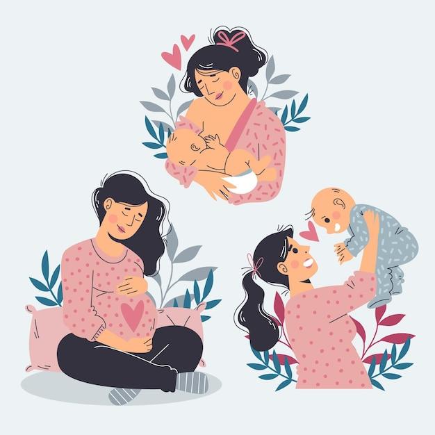 Schwangerschafts- und mutterschaftsszenen Kostenlosen Vektoren