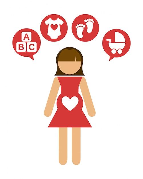 Schwangerschaftsentwurf Premium Vektoren