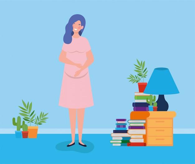 Schwangerschaftsfrau in der hausplatzszene Kostenlosen Vektoren