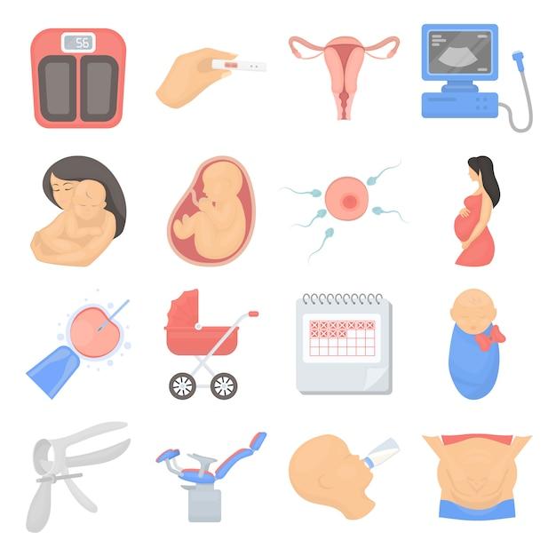 Schwangerschaftskarikaturvektor-ikonensatz. vektorabbildung der schwangerschaft und des schätzchens. Premium Vektoren