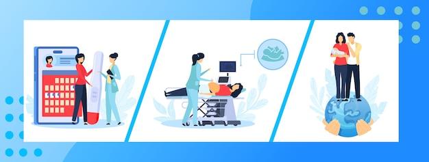Schwangerschaftsmedizin illustrationssatz. Premium Vektoren