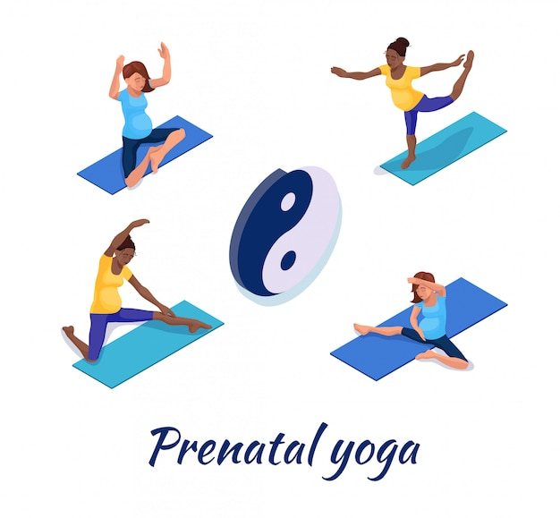 Schwangerschaftsyogafahne mit schwangerer frau Premium Vektoren