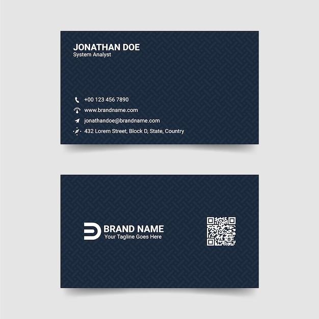 Schwarz-blaue visitenkarte-schablone Premium Vektoren