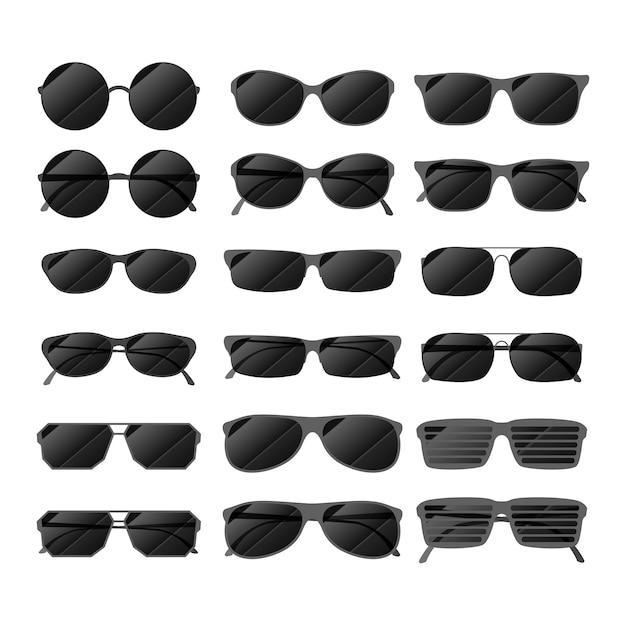 Schwarz glänzende sonnenbrille Premium Vektoren