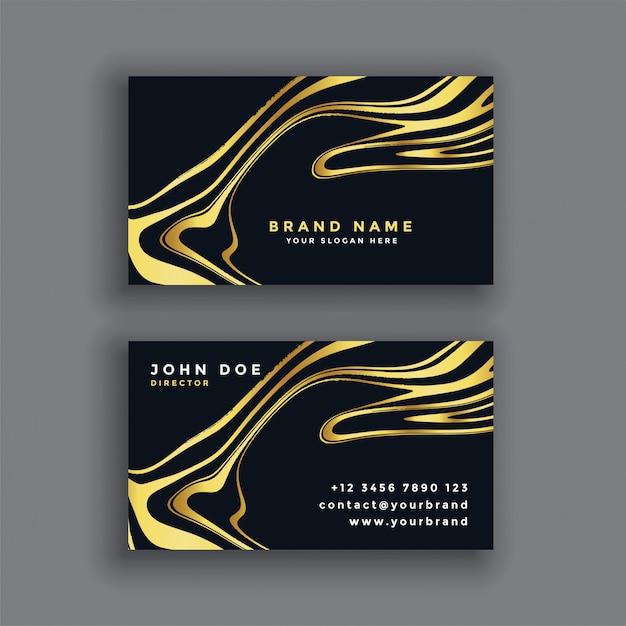 Schwarz Gold Luxus Abstrakte Visitenkarte Kostenlose Vektor
