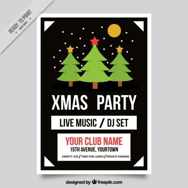 Schwarz party broschüre mit weihnachtsbäumen | Download
