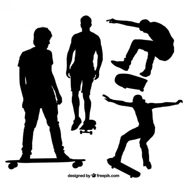 Schwarz skater silhouetten Premium Vektoren