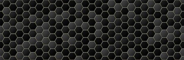 Schwarz und gold farbverlauf farbe sechseck nahtlosen muster hintergrund, geometrische, minimale design-stil Premium Vektoren