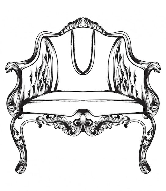 Schwarz und weiß. doodle rich barock sessel Premium Vektoren