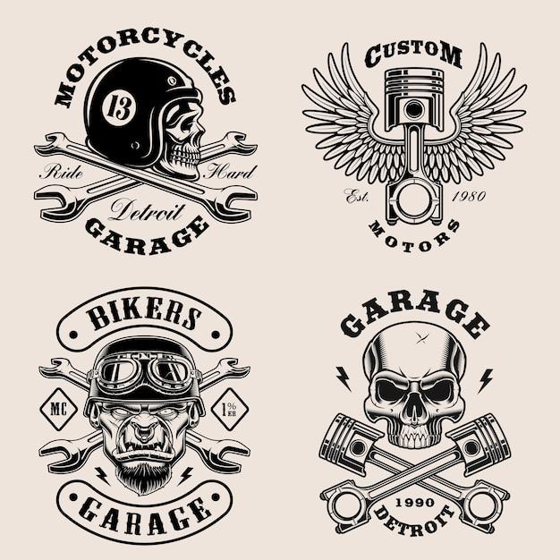 Schwarz-weiß-biker-embleme Premium Vektoren