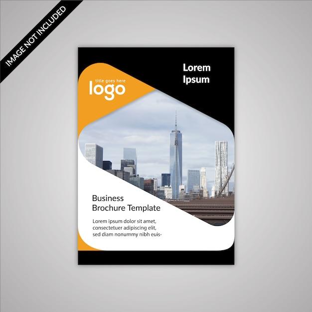 Schwarz-Weiß-Business-Broschüre mit gelben Details Kostenlose Vektoren