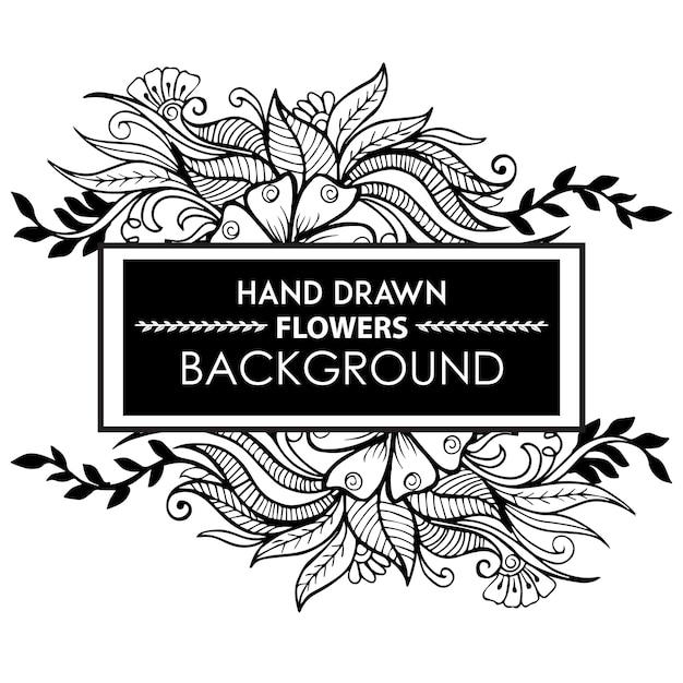 Schwarz Weiß Hand Gezeichnet Floral Frame Download Der Kostenlosen