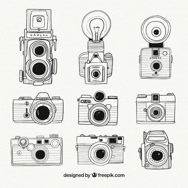 Schwarz-weiß-hand gezeichnet kamera-sammlung Kostenlosen Vektoren