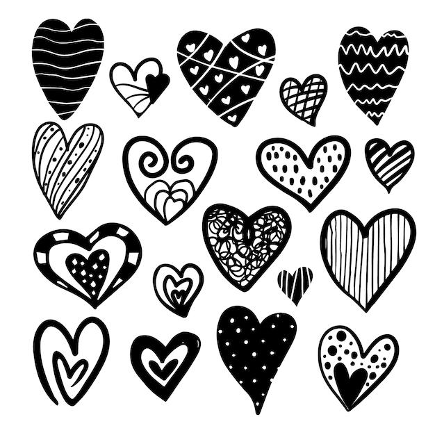 Schwarz-Weiß-Herzen Sammlung | Download der kostenlosen Vektor