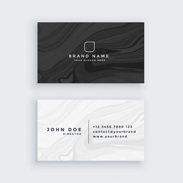 Schwarz-Weiß-moderne Visitenkarte mit Marmor Textur Kostenlose Vektoren